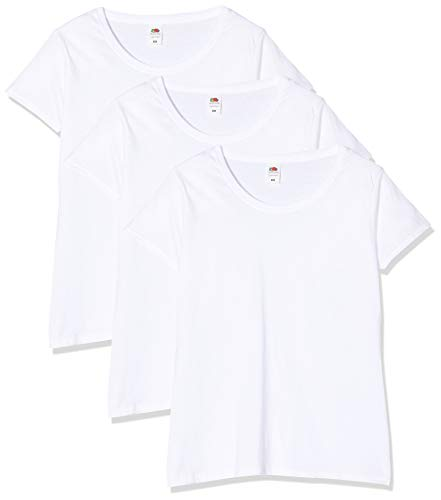Fruit of the Loom Lady-Fit Original Tee, 3 Pack T-Shirt, Bianco (White 30), 40 (Taglia Produttore: Medium) (Pacco da 3) Donna