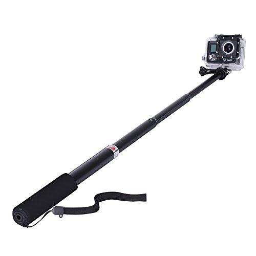 GHB Bastone Selfie per Gopro Asta Selfie Stick Telescopico Palo di Estensione con Monopiede Pole per GoPro Hero 7/5/4/3+/3/2 SJ4000 SJ5000 Sony Action Cam Macchine Fotografiche ecc Nero