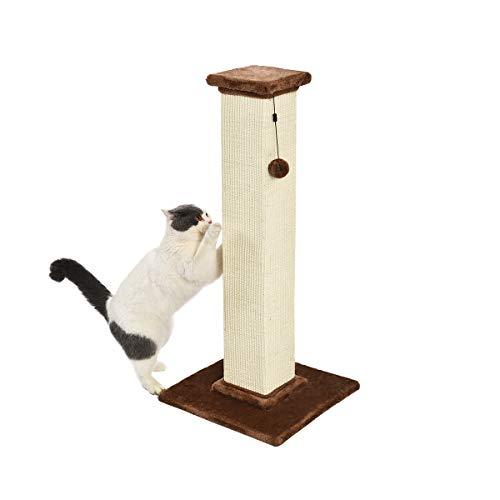 Amazon Basics - Poste rascador para gatos de primera calidad, alto y grande, 40,6x88,9x40,6 cm, alfombra marrón