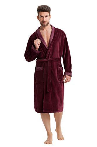 LEVERIE Accappatoio Nobile, Elegante e di Ottima fattura per Uomo Made in EU (M, Rosso Vinaccia)