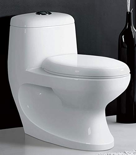 B Backline One Piece Ceramic Western Toilet/Commode/European Commode/Water Closet Square P Trap Outlet is from Wall - (Standard White)
