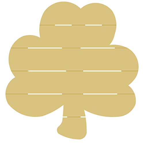 Shiplap Clover Cutout Unfinished Wood Four Leaf Clover St. Patrick's Day Seasonal Spring Door Hanger MDF Shape Canvas Style 1