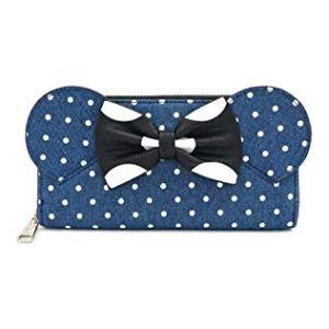 Loungefly x Minnie Mouse Denim Polka Dot Zip-Around Wallet