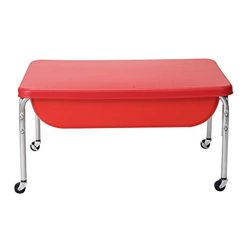 """Children's Factory 18' Large Sensory Table & Lid Set, Preschool/Homeschool/Playroom, Indoor/Outdoor Play Equipment, Toddler Sand & Water Activity, Red, 36"""" by 24"""" by 18"""""""