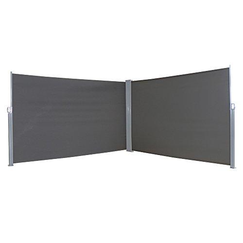 LZQ Seitenmarkise Sichtschutz Sonnenschutz Windschutz, Markisenstoff aus Polyester für Terrasse Camping seitlicher Windschutz (180x600cm, Anthrazit)