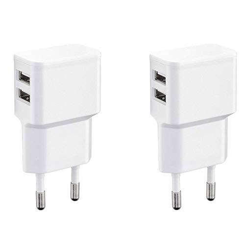 Wicked Chili 2er Set Dual USB Ladegerät 12W / 2400mA Pro Series Universal Netzteil geeignet für Handy, Watch, Powerbank und Bluetooth Speaker, 2-Fach USB Netzadapter (Netzstecker 90°, 2-Fach USB)