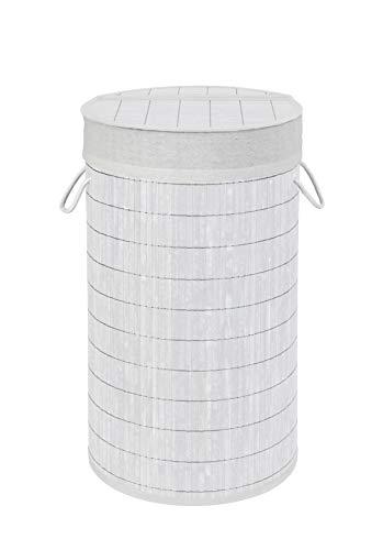 Wenko 22103100 Wäschetruhe Bamboo Weiß, Wäschekorb, mit Wäschesack, Bambus, 35 x 60 x 35 cm, Weiß