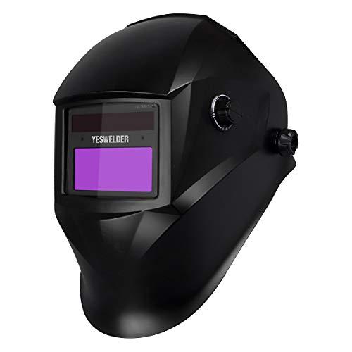 YESWELDER True Color Solar Powered Auto Darkening Welding Helmet, Wide Shade 4/9-13 with Grinding for TIG MIG ARC Weld Hood Welder Mask