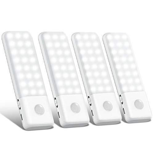 Luce Notte 48 LED Luci Armadio[4 Pack],Trswyop Lampada Armadio con Sensore di Movimento,Usb Batteria Ricaricabile Luce Emergenza,Con Strisce Magnetiche per Armadio,Corridoio,Armadio,Cucina,3 Modalit