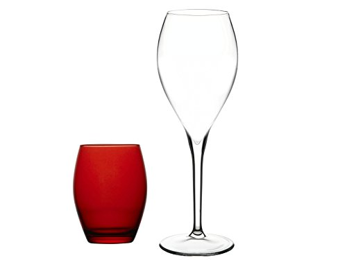 Pasabahce Montecarlo Servizio Bicchieri, Rosso/Trasparente, 4 Pezzi, 8 unit