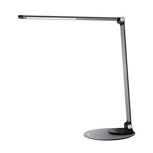 TaoTronics Schreibtischlampe Metall Tageslichtlampe mit 6 Helligkeits-und 3 Farbstufen, Ultradünn, augenschonende LED, Speicherfunktion, USB Ladeanschluss, Energieeffizient Silbergrau