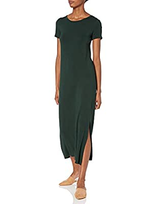 Comfortable, flowy fit Soft, smooth, luxe jersey with beautiful drape Maxi-length Short-sleeve design Round neckline High side slits at hem An Amazon brand