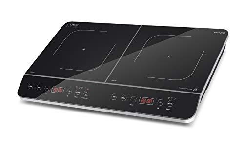 CASO Touch 3500 Induktionskochplatte doppelt mobil, Sicherheitsschalter, 60-240°C, 6 Stufen, Timer 180 Min., Töpfe bis 26 cm, 3500 Watt, Glaskeramik