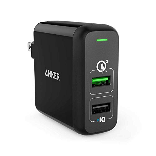 Anker Quick Charge 3.0 31.5W Dual USB Wall Charger, PowerPort 2 for Galaxy S9/S8/S7/Edge/Plus, Note 8/7 and PowerIQ for iPhone XS/Max/XR/X/8/7/6s/Plus, iPad Pro/Air 2/Mini, LG, Nexus, HTC and More
