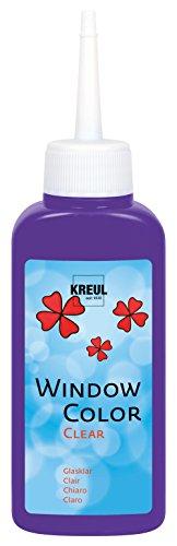 Kreul 40209 - Window Color Clear, Fenstermalfarbe auf Wasserbasis, für glatte Oberflächen wie Glas, Spiegel und Fliesen, 80 ml Malflasche, violett