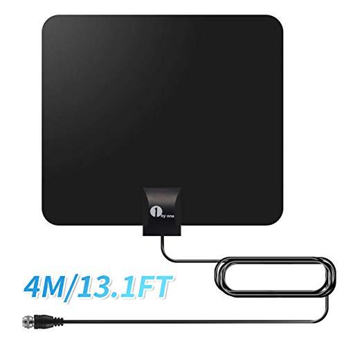 1byone DVB-T2/DVB-T Antenne Super Zimmerantenne DVB T2 HD kleine Flach Antenne Indoor für Fernseher/Reciever terrestrisch digital Antenne für TV Empfang ohne Kabel, Fensterscheibe/Wand Zimmerantenne
