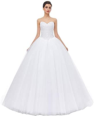 1.Made in Tulle and Satin,Ball Gown Style,Sewn with Sequin and Beaded 2.Sweetheart Neck and Lace up Back 3.Size :US2-US26W,Custom Size Available, Please contact with me if you need custom made your wedding dress 4.Color:White and Ivory color in stock...