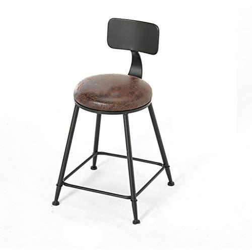 Chaise De Salle À Manger, Tabouret De Bar - Avec Dossier Chaise De Café Ronde En Cuir Chaise De Bar Industrielle Noir (taille : 40x40x45cm)