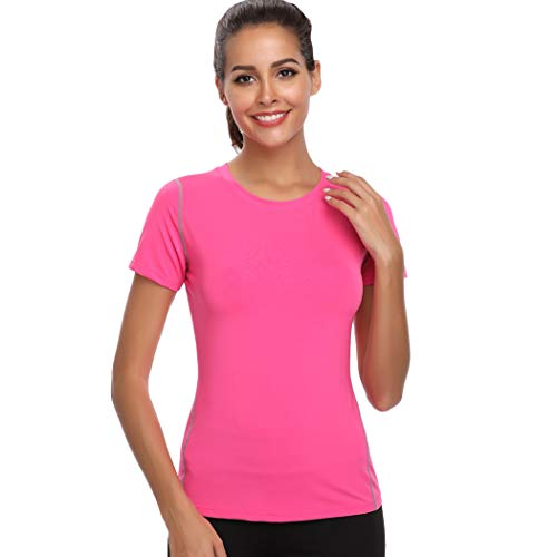 Joyshaper Training Top Damen Yoga Fitness Top T Shirt Quick Dry Kompression Sport Tanktop Sportshirt Trainingsshirt Shirt T-Shirt Running (Pink, Large)