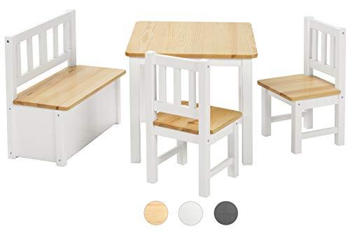 Bomi Kindersitzgruppe Anna mit integrierter Spielzeugkiste   Kindertruhenbank aus Kiefer Massiv Holz für Kleinkinder, Mädchen und Jungen
