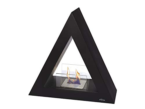 PURLINE TALIA B Black pyramidal floor biochimney for indoor and outdoor use