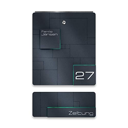 Design Briefkasten aus Edelstahl mit Zeitungsfach - inkl. Gravur - Anthrazit RAL 7016 - Wand-Montage - Größe: 385x330x110 mm