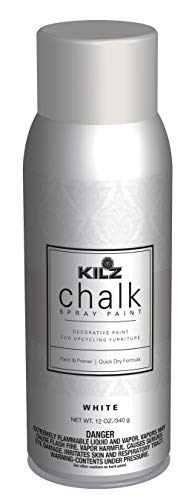 KILZ L540546 Chalk Spray Paint for Upcycling Furniture, 12 oz. Aerosol, White