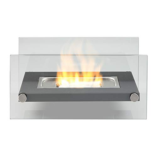 Bio Ethanol Fireplace Tabletop Firebox Burner Heater - Suitable for Indoor & Outdoor Use, Freestanding, Portable, Contemporary Modern Glass Design - Rectangle