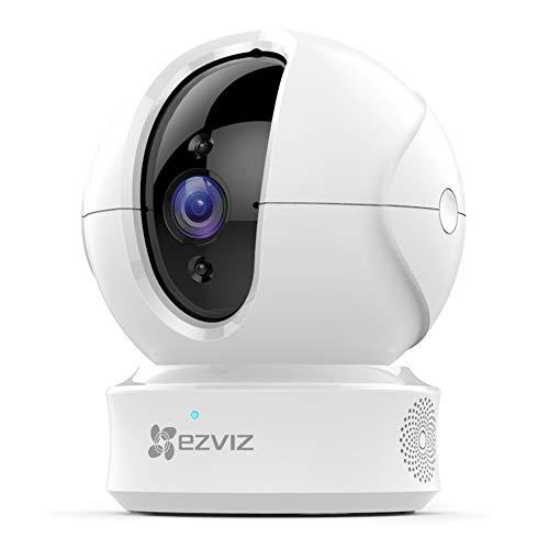 EZVIZ Telecamera da interno PTZ videocamera di sorveglianza 720p ip camera compatibile con Alexa e Google Home visione notturna tracciamento del movimento e audio bi-direzionale bianca Modello CTQ6C