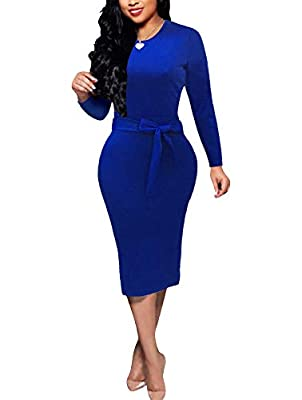 Bodycon Dresses for Women - CLASSIC & VOGUE - Bodycon pencil dress with self-tied bowknot makes work dresses for women, cute and beautiful.A concealed back zipper makes the solid dresses easy to put on. Bodycon Dresses for Women - NICE FABRIC - Polye...