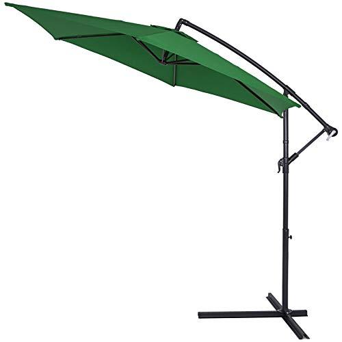 Deuba® Alu Ampelschirm Ø 300cm grün mit Kurbelvorrichtung Aluminium Wasserabweisende Bespannung - Sonnenschirm Schirm Gartenschirm Marktschirm