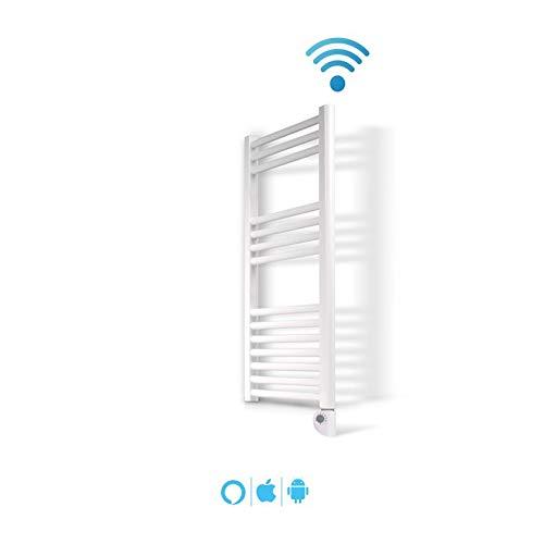 Radiador Toallero Electrico IBIZA Blanco 500W · Termostato Digital · (800 x 500 mm) · El Primer Toallero Bajo Consumo Wi-Fi, Compatible con iOS y Android · Amazon Alexa y Google Home