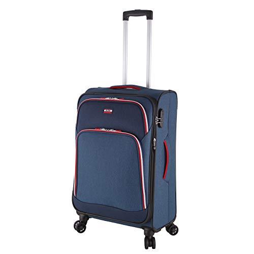 Rada Trolley Rainbow T1/S 67 Leichter Reisekoffer mit 4-360° Rollen, Teleskopgestänge, Zahlenschloss, Koffer wasserabweisend und strapazierfähig Polyester (65 Liter Volumen) (Midnight Sports)