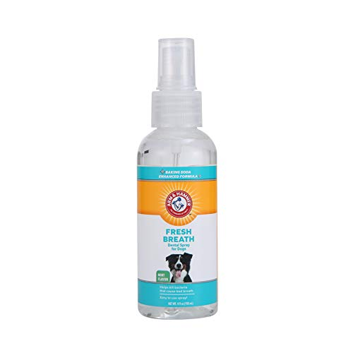 Arm & Hammer for Pets Fresh Breath Dental Spray for Dogs   Easy and Effective Way to Reduce Plaque & Tartar Buildup Without Brushing, 4 Ounces, Mint Flavor