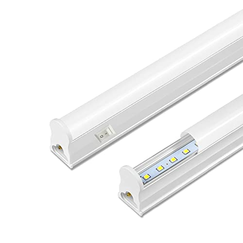 AOMEX Lampada sottopensile con interruttore e prese, 30cm 8W 800Lumen Barra LED per Cucina integrati IP20 230V (Naturale-4000K, 1 Pack)
