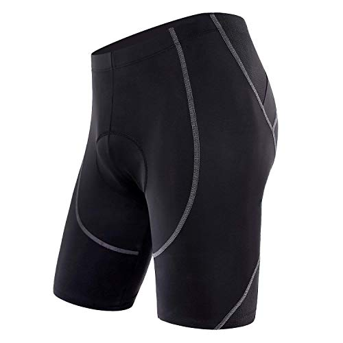 Sportneer Men's Cycling Shorts, 4D Coolmax Padded Bike Pants, Comfort, Anti-Slip, Breathable & Sweat-Absorbent