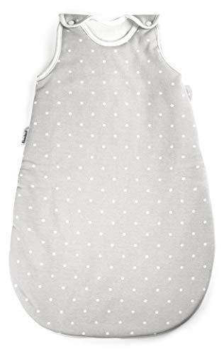Ehrenkind® Babyschlafsack Rund   Bio-Baumwolle   Ganzjahres Schlafsack Baby Gr. 62/68 Farbe Grau mit weißen Punkten
