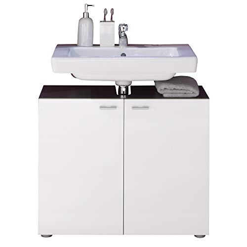 trendteam smart living Badezimmer Waschbeckenunterschrank Unterschrank Tetis, 72 x 63 x 35 cm, Korpus Graphit (Nb.) und Front Weiß Hochglanz mit Siphonausschnitt