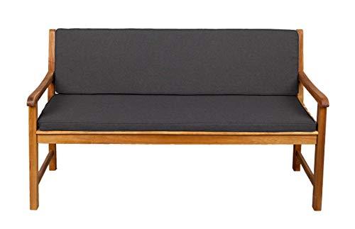 Bankauflage Für Hollywoodschaukel Set Glatt Sitzkissen + Rückenlehne FK5 (200x40x50, Dunkelgrau)