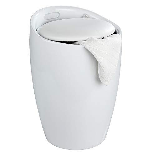 WENKO Hocker Candy White Aufbewahrung Hocker Bad Badezimmer Badmöbel Wäschekorb