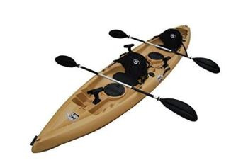 BKC TK181 12.5' Tandem Sit On Top Kayak W/ Seats, Paddles, 7 Rod Holders Included 2 Person Kayak