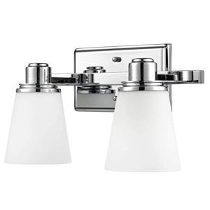 Terracina Two-Light Vanity Sconce Lamp, Polished Chrome with Opal Glass Linea di Liara LL-WL220-2