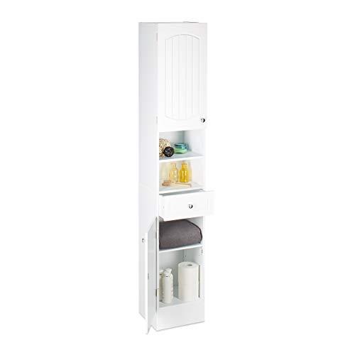 Relaxdays Bad Hochschrank, zweitüriger Holz Badschrank mit Schublade, Lamellen, HxBxT: 173,5 x 30,5 x 32 cm, weiß