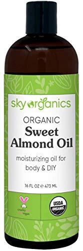 Organic Sweet Almond Oil (16 oz) by Sky Organics 100% Pure...