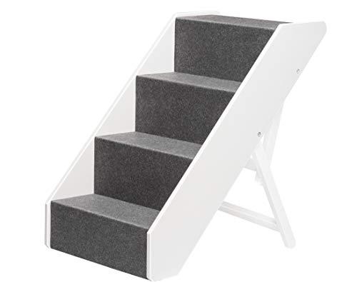 UPP Hundetreppe Premium   Massiv aus FSC Holz und höhenverstellbar  4-stufige Treppe für Hunde bis 70 kg   Klappbare Hunderampe für Auto und Innenbereich [Weiß]