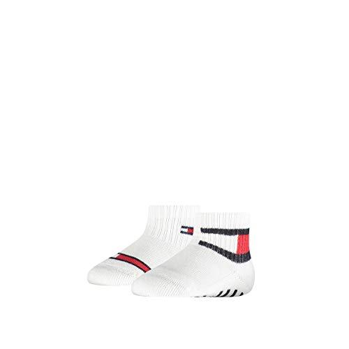 Tommy Hilfiger Baby Flag Socks (2 Pack) Calzini, Bianco, 23-26 Unisex-Bimbi
