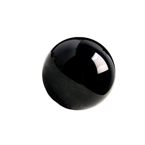 VOSAREA Bola de Cristal de obsidiana Decorativa mágica Mineral Natural adivinación Esfera Bola decoración de Adornos de Escritorio para el hogar (7 cm)