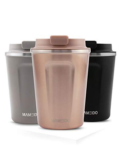 MAMEIDO Thermobecher Rose 350 ml - Kaffeebecher, Edelstahl doppelwandig isoliert, auslaufsicher, Coffee to go, Kaffee & Tee Isolierbecher Travel Mug