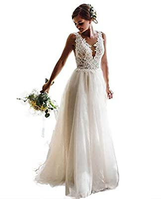 ♥Feature: A-Line Style Appliqued Lace wedding dresses For Women , Shapghetti strap Lace beach boheimian bridal dress , Sweetheart Lace Tulle and Satin wedding gown Fall winter , Floor length, Sleeveless straps ,With Built-in bra, beautiful lace flowe...