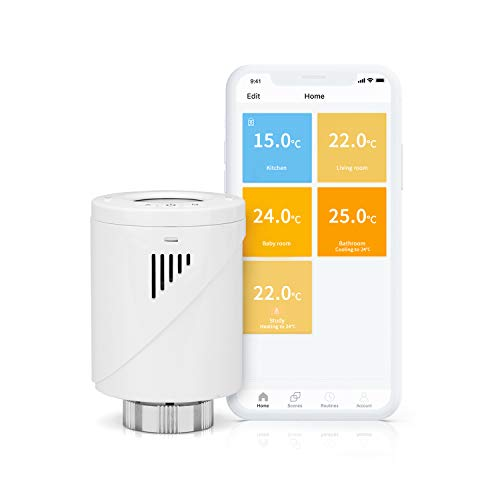 Tête Thermostatique Connectée (SANS HUB), meross Thermostat Intelligent Compatible avec Alexa et Google Home, Thermostat Radiateur pour Chauffage Collectif avec Contrôle Vocal et Contrôle à Distance